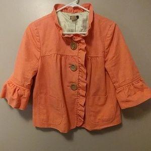 💐J. Crew cotton ruffle hem crop spring jacket